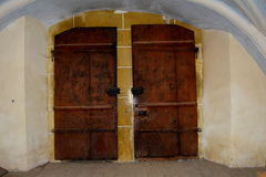 Gate of the fortified medieval church Biertan, Transylvania. Royalty Free Stock Photos