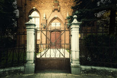 The gate in front of the baptists temple. Entrance into the baptists christian church Stock Photo