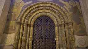 Gate, the front door to the Dormition Cathedral in the Kremlin in Moscow 4k.  stock video footage