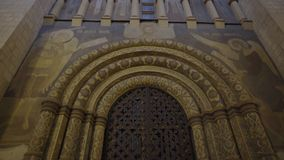 Gate, the front door to the Dormition Cathedral in the Kremlin in Moscow 4k.  stock video