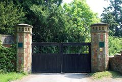 Gate with gate posts in towers shape Stock Photography