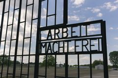 Gate from the German Concentration camp Sachsenhausen in Berlin,. BERLIN, GERMANY June 6, 2017: Gate from the nazi German Concentration camp Sachsenhausen. The Royalty Free Stock Image