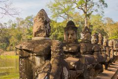 Gate Guardians ,stone sculptures in Angkor Wat, Cambodia stock photo