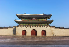 The gate of Gyeongbokgung Palace on blue sky royalty free stock images