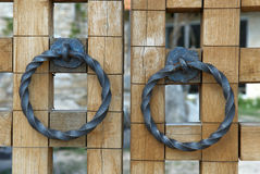 Gate handles. As close-up Royalty Free Stock Photography