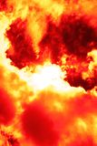 Gate in a hell. Abstract image of the sun among fiery clouds Stock Images