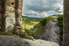 Gate on the hill of Cave City in Cherkez-Kermen Valley, Crimea Stock Photo