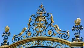 gate of Jardins de la fontaine in Nimes city stock image