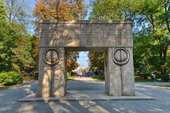 Picture taken at September 1, 2017 of `The Gate of Kiss` at Targu-Jiu, Romania. The `Gate of the kiss` looks like a triumphal arch, symbolizing the triumph of Stock Image