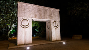 Gate of the Kiss at night, sculpture by Constantin Brancusi Royalty Free Stock Photos