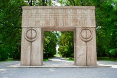 The Gate Of The Kiss - Poarta sarutului. The Gate Of The Kiss, located in Targu Jiu city, Romania, is one of the most important works of sculptor Constantin Royalty Free Stock Image