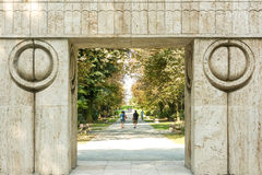 The Gate of the Kiss (Poarta Sarutului). TARGU JIU, ROMANIA - AUGUST 26, 2014: The Gate of the Kiss is a stone sculpture made by Constantin Brancusi in 1938 and Stock Photography