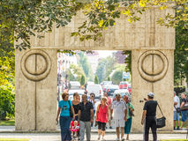 The Gate of the Kiss (Poarta Sarutului). TARGU JIU, ROMANIA - AUGUST 26, 2014: The Gate of the Kiss is a stone sculpture made by Constantin Brancusi in 1938 and Royalty Free Stock Image
