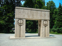 The Gate of the Kiss. By Romanian sculptor Constantin Brancusi, of Banpotoc travertine (marble), features a kiss motif on the gate pillars. It is one of Royalty Free Stock Images