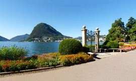 Gate at lake of Villa Ciani Royalty Free Stock Photos