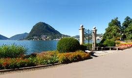 Gate at lake of Villa Ciani Royalty Free Stock Photos