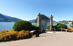 Gate at lake of Villa Ciani Stock Image