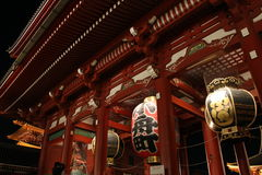 Gate and lamps of Senso-ji Temple at night, Asakus Stock Images
