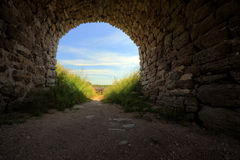 Gate leading to a sunny meadow. Royalty Free Stock Images