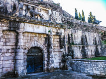 The gate with the lion in the New fortress of Corfu Royalty Free Stock Photography