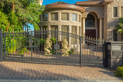 Gate with lions Stock Images