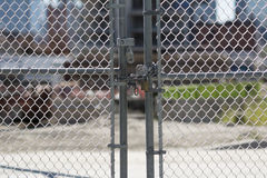 Free Gate Locked At Construction Site Stock Photo - 33710190
