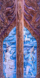 Gate made of wood carved. With the delicate and beautiful Stock Image