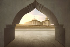 Gate with majestic mosque view Royalty Free Stock Images