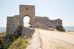 The gate of the medieval fortress on cape Kaliakra Stock Photo