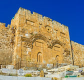 The Gate of Mercy. JERUSALEM, ISRAEL - FEBRUARY 16, 2016: The Golden Gate (Gate of Mercy) is the oldest in city, and the only one eastern gate from Temple Mount Stock Images