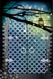 Gate from metal. blue color. A lantern on a tree branch lights up Stock Photos