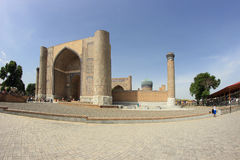 The gate of the mosque Bibi-Khanym Mosque in Samarkand city, Uzbekistan Royalty Free Stock Images