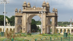 The gate of Mysore palace. Beautiful gate of Mysore city palace Royalty Free Stock Photography