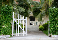 The gate of nature resort in Con Dao Island Stock Photo