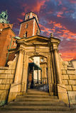 Gate in old castle. On dramatics sky background Royalty Free Stock Image