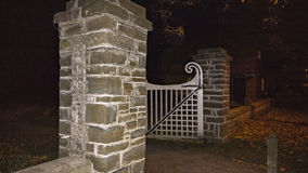 Gate. An old fashion white open gate Stock Photos