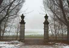 Gate onto a Foggy Field Stock Photos