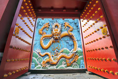 Gate opening to a Chinese dragon Stock Photography