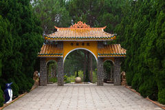 Gate pagoda to Monastery. Dalat. Vietnam. Royalty Free Stock Photography
