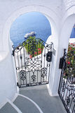 Gate and panorama from Santorini island Stock Photo