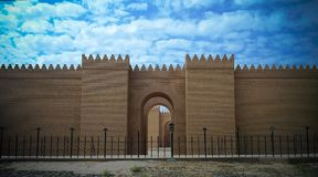 Gate of partially restored Babylon ruins, Hillah, Iraq. Gate of partially restored Babylon ruins at Hillah, Iraq stock photos
