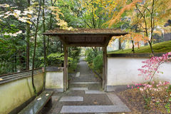Gate and Pathway in Japanese Garden Royalty Free Stock Photography