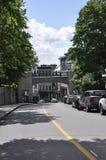 Quebec, 28th June: Gate Porte Prescott over Rue Cote de la Montagne of Old Quebec City in Canada. Gate Porte Prescott over Rue Cote de la Montagne of Old Quebec Stock Image