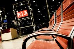Gate R13 at Barcelona El Prat. Nightscene at Barcelona El Prat stock image