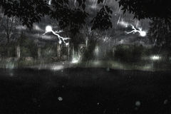 Gate at Rainy Night Royalty Free Stock Images
