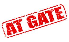 AT GATE red stamp text. On white Stock Images