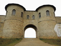 Reconstructed Roman gateway. The reconstructed north gate of the Roman fort Castra Biriciana Stock Photography