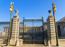 Gate at the royal palace in Madrid, Spain Stock Images