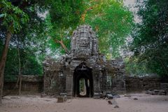 Gate ruins of Angkor temple stock images