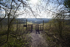 Gate in a rural landscape Stock Photos